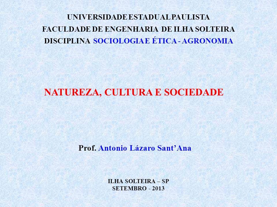 UNIVERSIDADE ESTADUAL PAULISTA FACULDADE DE ENGENHARIA DE ILHA SOLTEIRA DISCIPLINA SOCIOLOGIA E ÉTICA - AGRONOMIA NATUREZA, CULTURA E SOCIEDADE Prof.