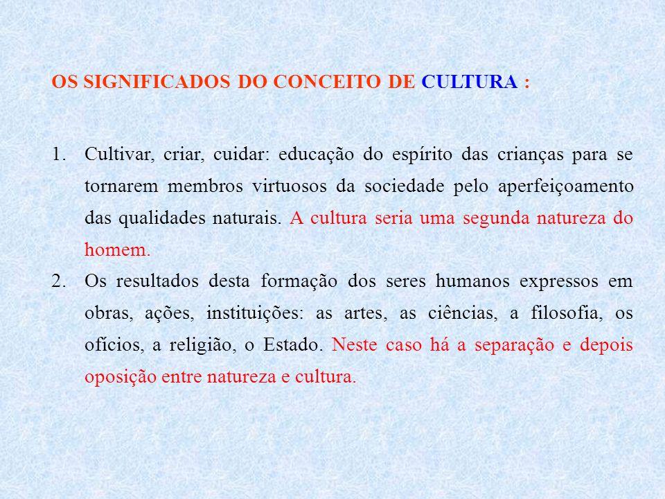 OS SIGNIFICADOS DO CONCEITO DE CULTURA : 1.Cultivar, criar, cuidar: educação do espírito das crianças para se tornarem membros virtuosos da sociedade pelo aperfeiçoamento das qualidades naturais.