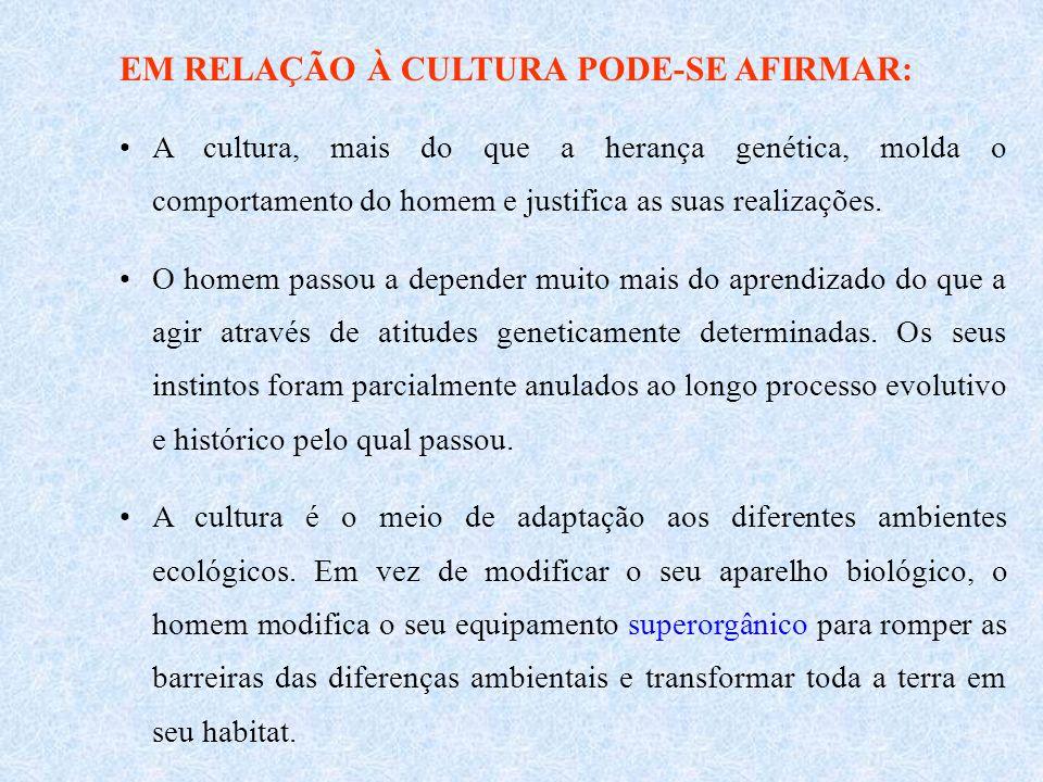 EM RELAÇÃO À CULTURA PODE-SE AFIRMAR: A cultura, mais do que a herança genética, molda o comportamento do homem e justifica as suas realizações.