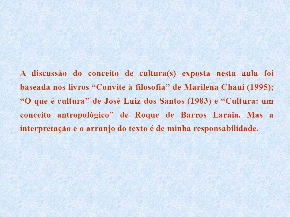 A discussão do conceito de cultura(s) exposta nesta aula foi baseada nos livros Convite à filosofia de Marilena Chauí (1995); O que é cultura de José Luiz dos Santos (1983) e Cultura: um conceito antropológico de Roque de Barros Laraia.
