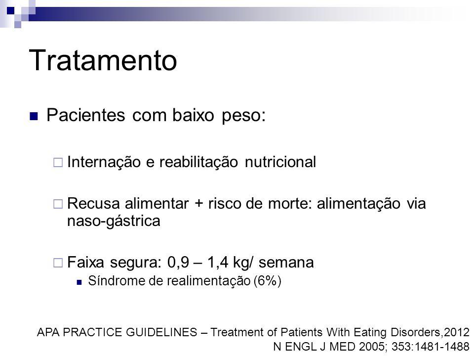 Tratamento Pacientes com baixo peso: Internação e reabilitação nutricional Recusa alimentar + risco de morte: alimentação via naso-gástrica Faixa segu