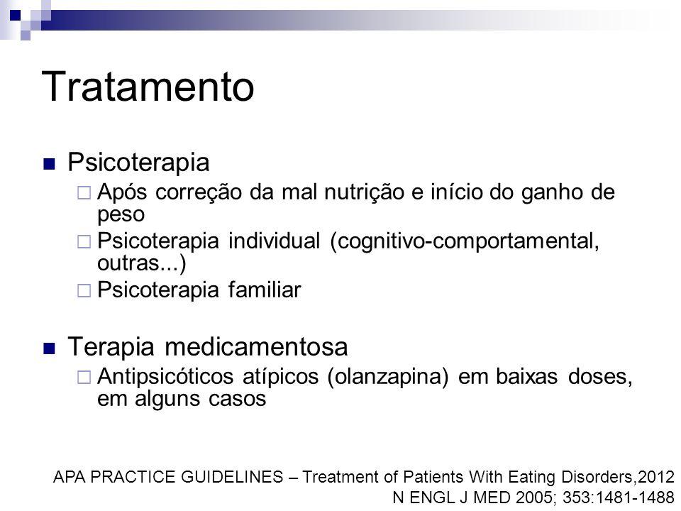 Tratamento Psicoterapia Após correção da mal nutrição e início do ganho de peso Psicoterapia individual (cognitivo-comportamental, outras...) Psicoter