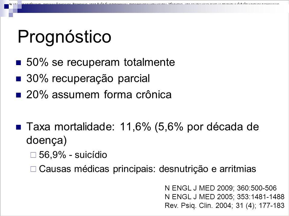 Prognóstico 50% se recuperam totalmente 30% recuperação parcial 20% assumem forma crônica Taxa mortalidade: 11,6% (5,6% por década de doença) 56,9% -