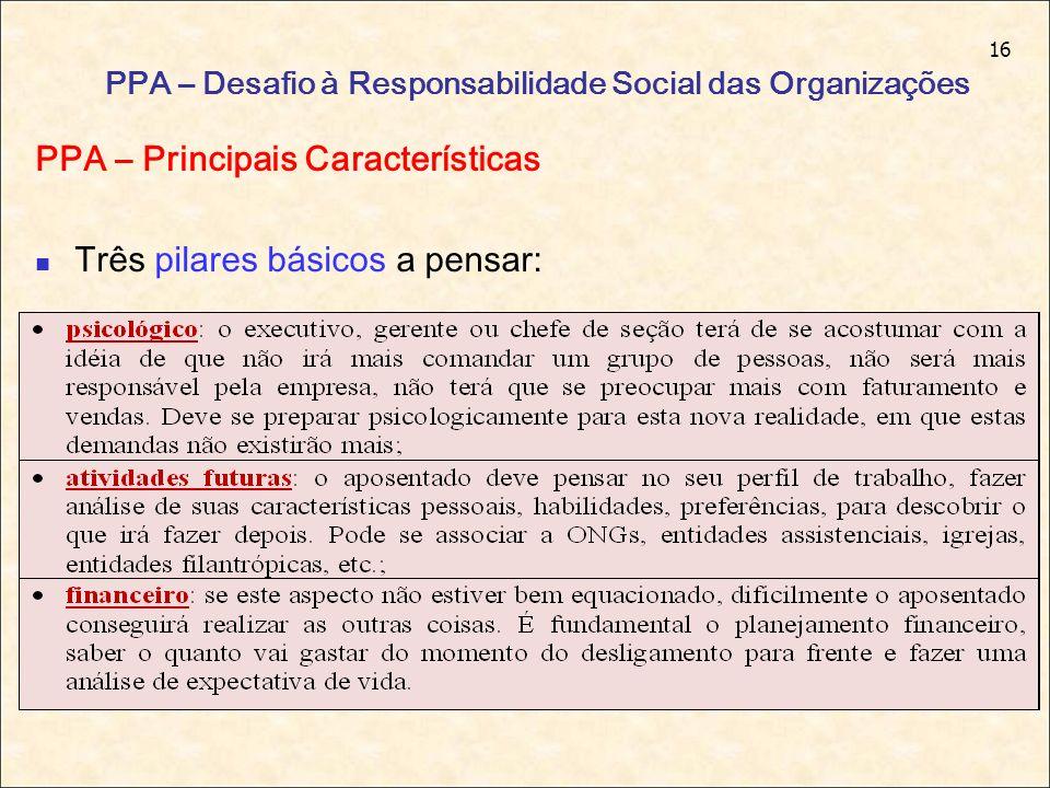 16 PPA – Desafio à Responsabilidade Social das Organizações PPA – Principais Características Três pilares básicos a pensar: