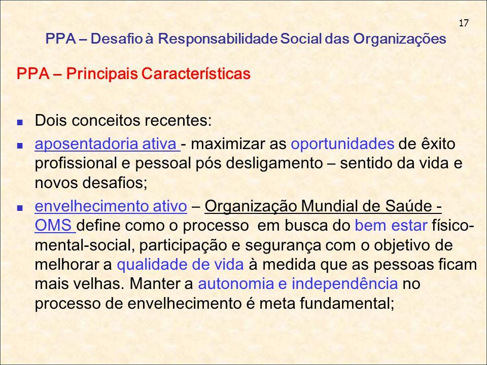 17 PPA – Desafio à Responsabilidade Social das Organizações PPA – Principais Características Dois conceitos recentes: aposentadoria ativa - maximizar