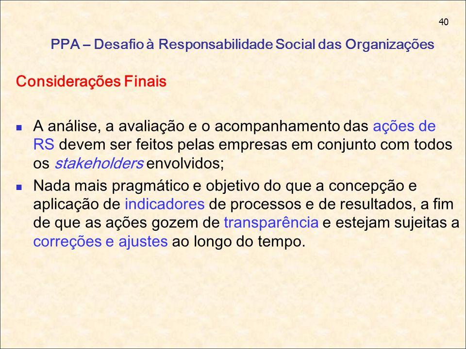40 PPA – Desafio à Responsabilidade Social das Organizações Considerações Finais A análise, a avaliação e o acompanhamento das ações de RS devem ser f
