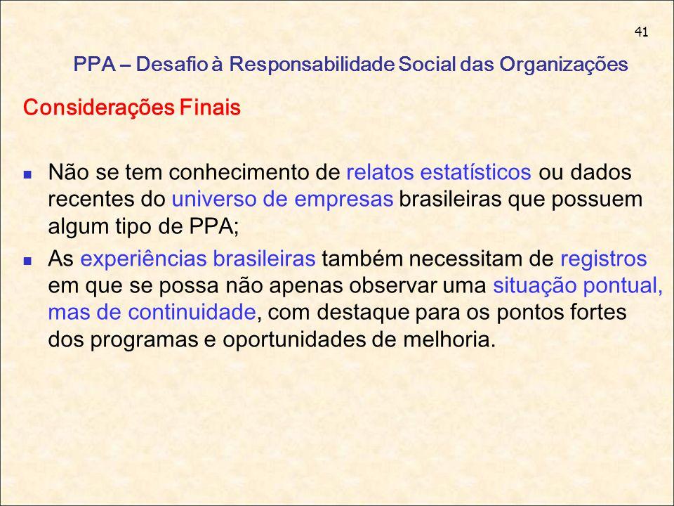 41 PPA – Desafio à Responsabilidade Social das Organizações Considerações Finais Não se tem conhecimento de relatos estatísticos ou dados recentes do