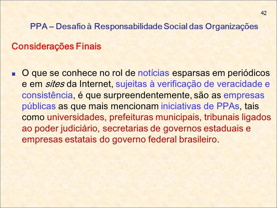 42 PPA – Desafio à Responsabilidade Social das Organizações Considerações Finais O que se conhece no rol de notícias esparsas em periódicos e em sites