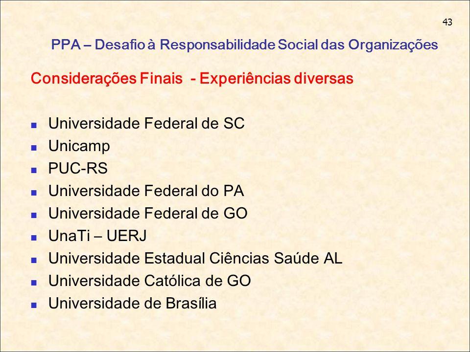 43 PPA – Desafio à Responsabilidade Social das Organizações Considerações Finais - Experiências diversas Universidade Federal de SC Unicamp PUC-RS Uni