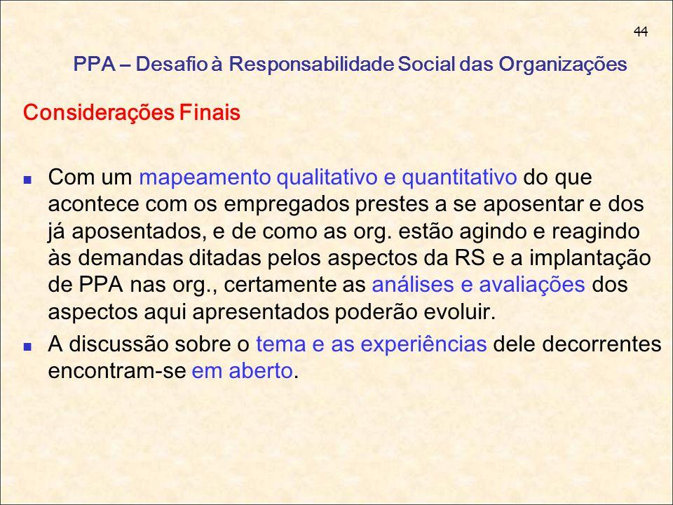 44 PPA – Desafio à Responsabilidade Social das Organizações Considerações Finais Com um mapeamento qualitativo e quantitativo do que acontece com os e
