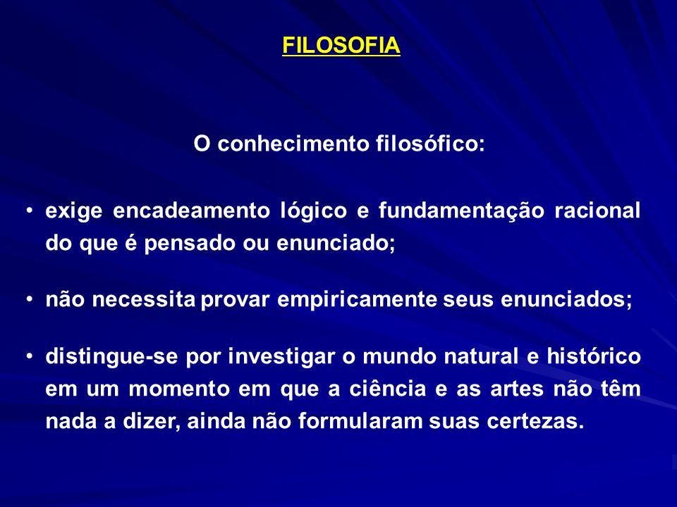 FILOSOFIA exige encadeamento lógico e fundamentação racional do que é pensado ou enunciado; não necessita provar empiricamente seus enunciados; distin