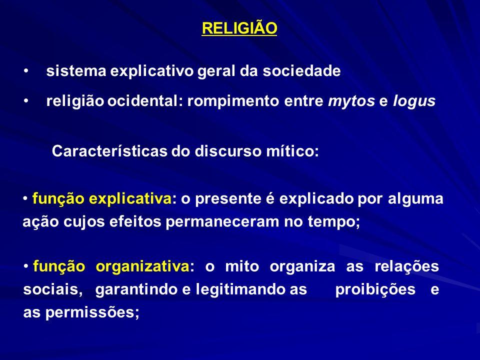 RELIGIÃO sistema explicativo geral da sociedade religião ocidental: rompimento entre mytos e logus Características do discurso mítico: função explicat