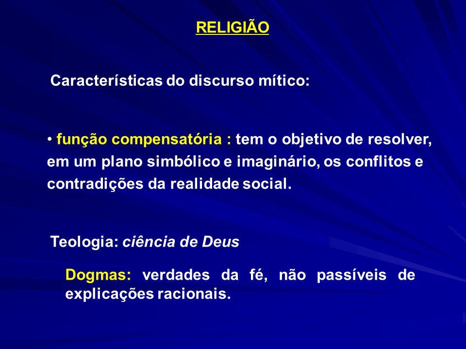 RELIGIÃO Características do discurso mítico: função compensatória : tem o objetivo de resolver, em um plano simbólico e imaginário, os conflitos e con