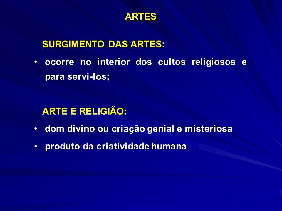 ARTES SURGIMENTO DAS ARTES: ocorre no interior dos cultos religiosos e para servi-los; ARTE E RELIGIÃO: dom divino ou criação genial e misteriosa prod