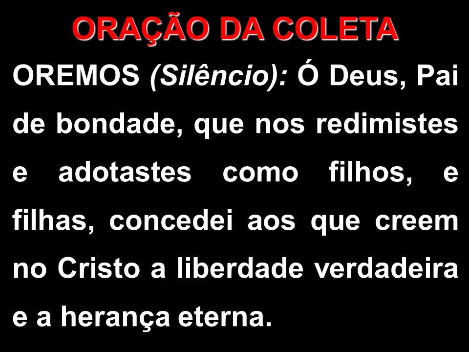OREMOS (Silêncio): Ó Deus, Pai de bondade, que nos redimistes e adotastes como filhos, e filhas, concedei aos que creem no Cristo a liberdade verdadei