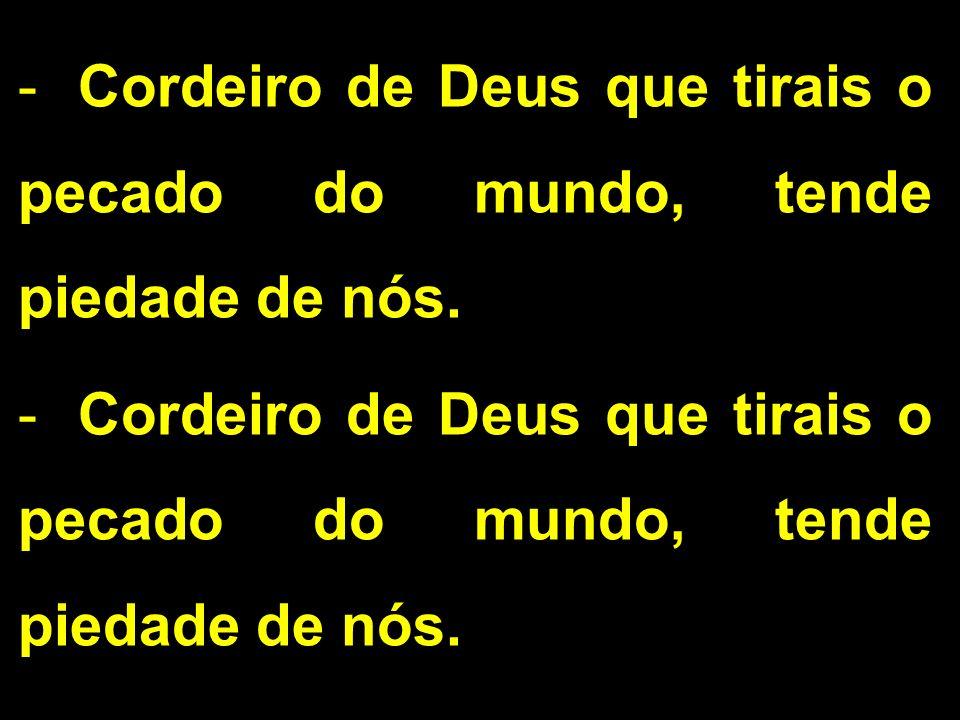 -Cordeiro de Deus que tirais o pecado do mundo, tende piedade de nós.