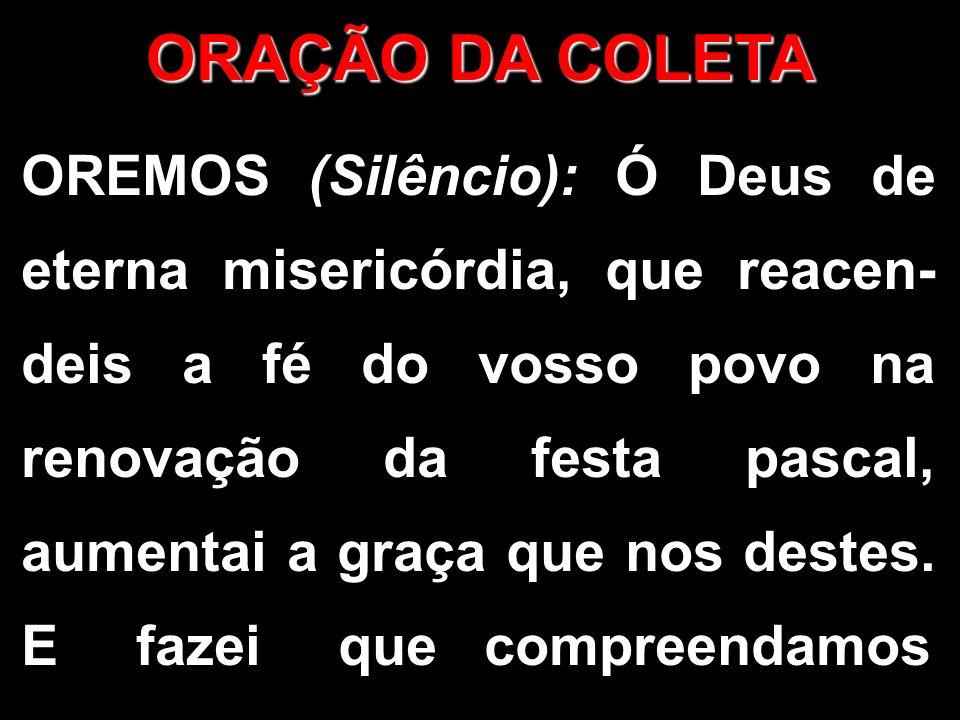 OREMOS (Silêncio): Ó Deus de eterna misericórdia, que reacen- deis a fé do vosso povo na renovação da festa pascal, aumentai a graça que nos destes. E