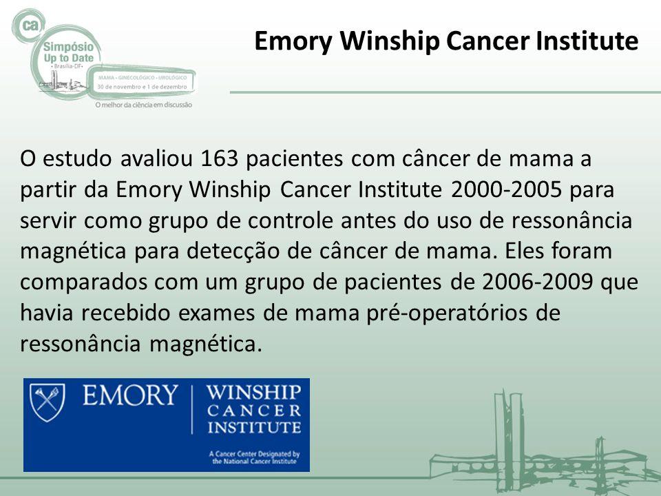 O estudo avaliou 163 pacientes com câncer de mama a partir da Emory Winship Cancer Institute 2000-2005 para servir como grupo de controle antes do uso