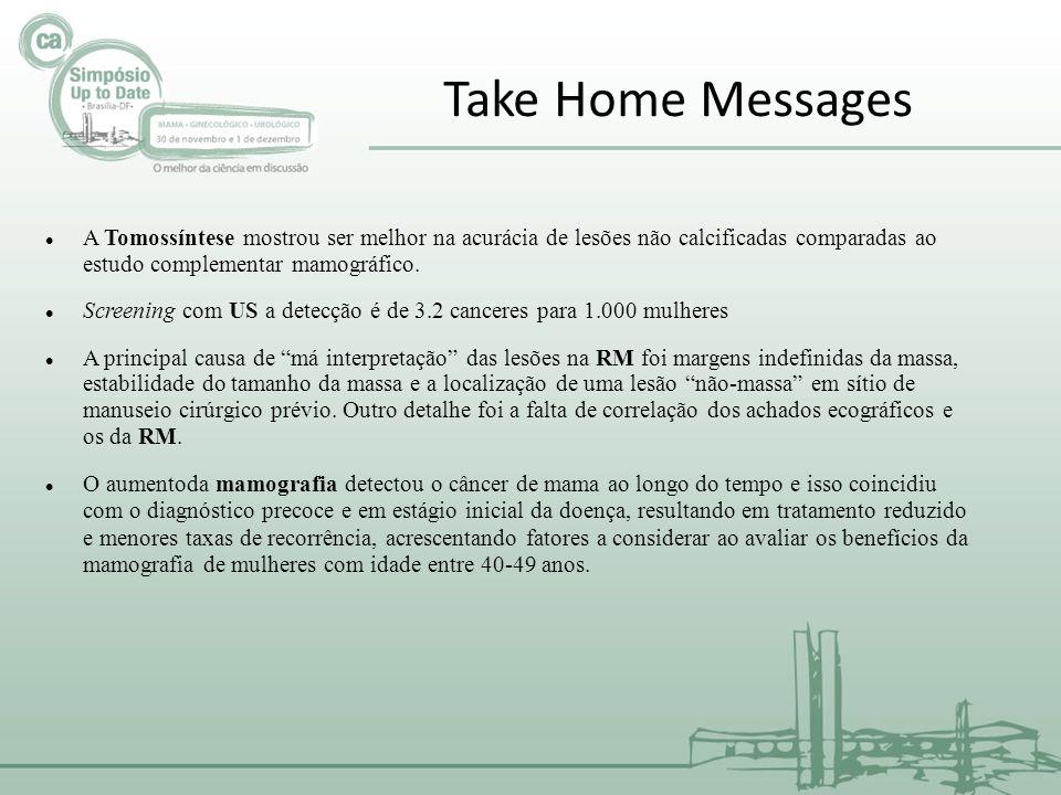 Take Home Messages A Tomossíntese mostrou ser melhor na acurácia de lesões não calcificadas comparadas ao estudo complementar mamográfico. Screening c