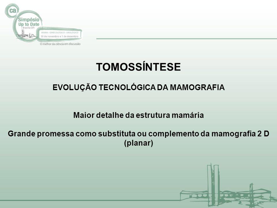 Oslo Tomosynthesis Screening Trial (OTST) Preliminary results -35% increase in cancer detection with tomo -3.500 mulheres de 20.000) -Skaane, RSNA 2011 Sueden -(inicio 2010 até 2013) Preliminary results -15 % increase in cancer detection with tomo (7.000 de 15.000) - Anderson, ECR, 2012 Italia (inicio 2011-6 meses) Preliminary results -33,3 % increase in cancer detection with tomo (3.575 mulheres ) –Ciatto, ECR, 2012