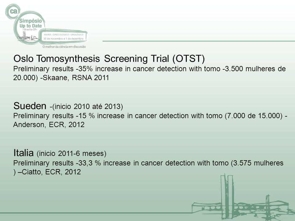 Oslo Tomosynthesis Screening Trial (OTST) Preliminary results -35% increase in cancer detection with tomo -3.500 mulheres de 20.000) -Skaane, RSNA 201