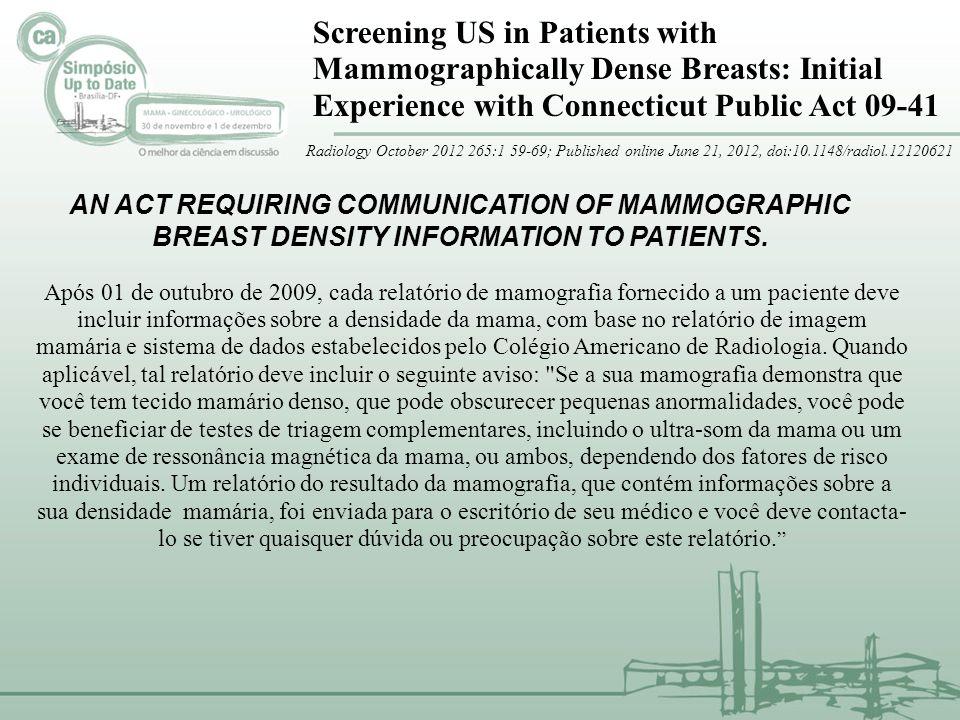 Screening US in Patients with Mammographically Dense Breasts: Initial Experience with Connecticut Public Act 09-41 935 MULHERES 65.7% BAIXO RISCO 15.9% RISCO INTEMEDIÁRIO 9.3% ALTO RICO PARA CÂNCER DE MAMA 75.0% BI-RADS 1 ou 2 20.0% BI-RADS 3 5.0% BI-RADS 4.