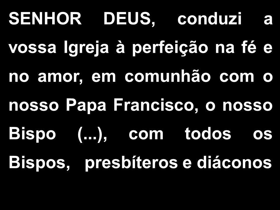 SENHOR DEUS, conduzi a vossa Igreja à perfeição na fé e no amor, em comunhão com o nosso Papa Francisco, o nosso Bispo (...), com todos os Bispos, pre