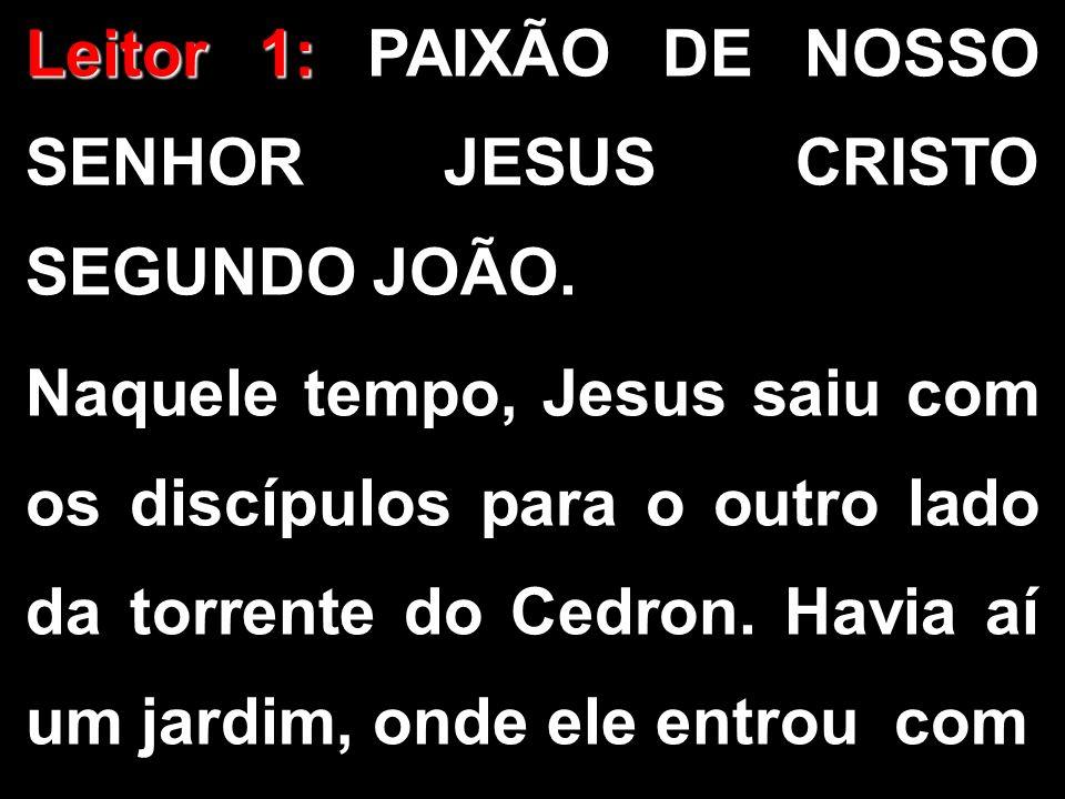 Leitor 1: Leitor 1: PAIXÃO DE NOSSO SENHOR JESUS CRISTO SEGUNDO JOÃO. Naquele tempo, Jesus saiu com os discípulos para o outro lado da torrente do Ced