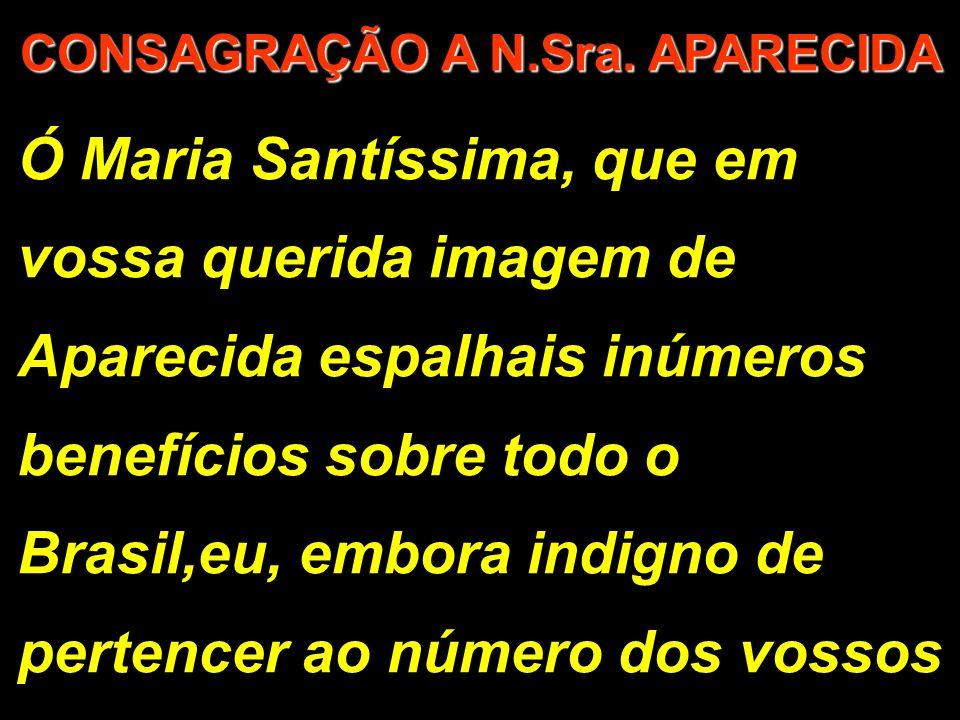 Ó Maria Santíssima, que em vossa querida imagem de Aparecida espalhais inúmeros benefícios sobre todo o Brasil,eu, embora indigno de pertencer ao número dos vossos CONSAGRAÇÃO A N.Sra.