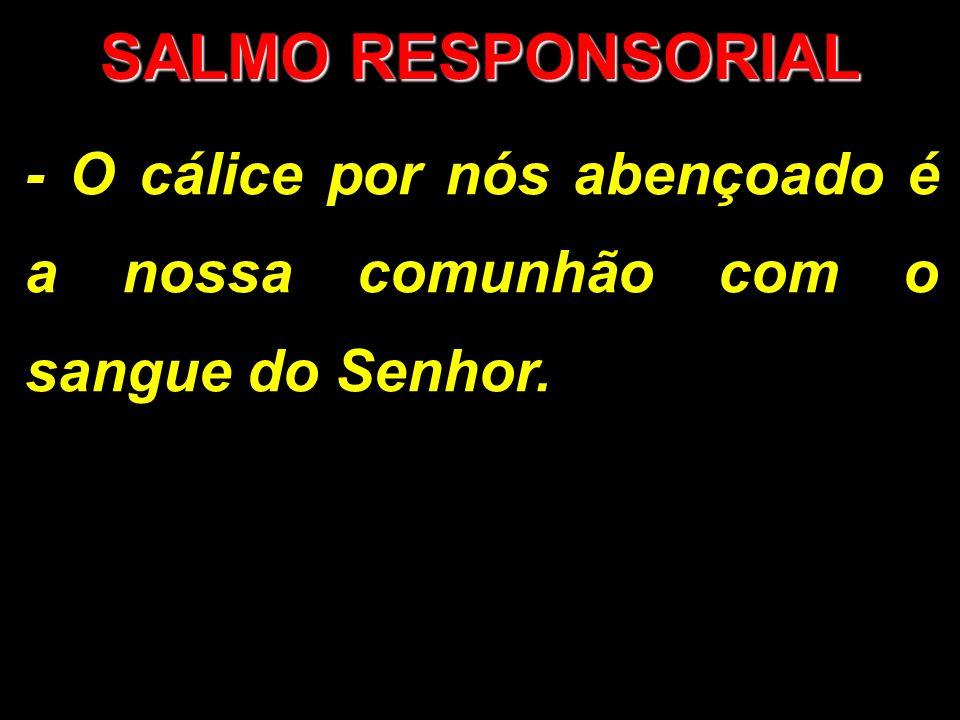 SALMO RESPONSORIAL - O cálice por nós abençoado é a nossa comunhão com o sangue do Senhor.