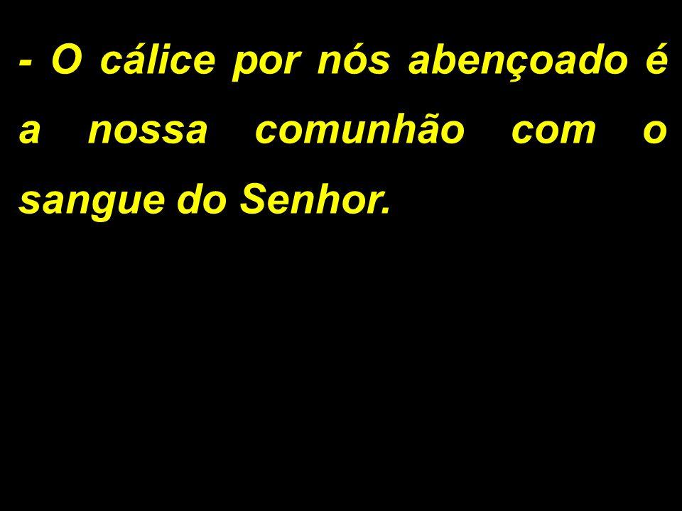 - O cálice por nós abençoado é a nossa comunhão com o sangue do Senhor.