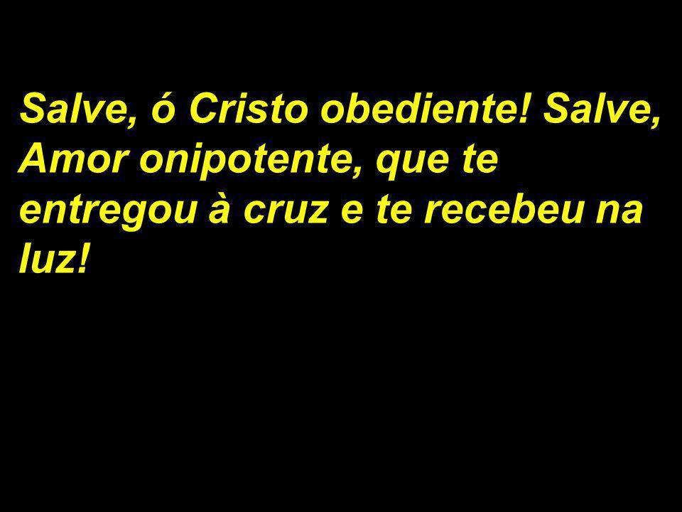 Salve, ó Cristo obediente! Salve, Amor onipotente, que te entregou à cruz e te recebeu na luz!