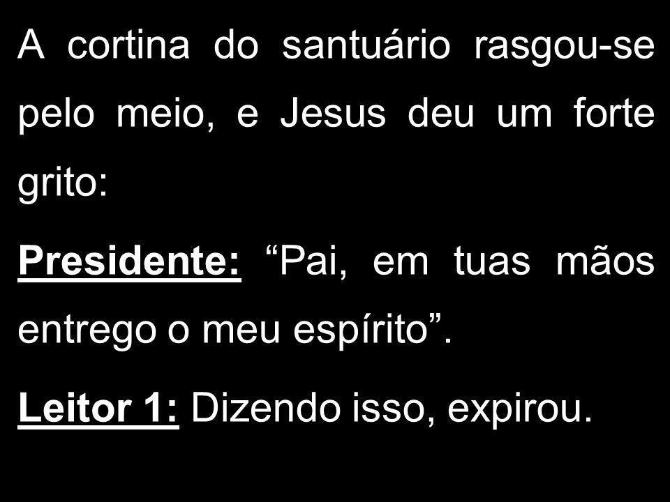 A cortina do santuário rasgou-se pelo meio, e Jesus deu um forte grito: Presidente: Pai, em tuas mãos entrego o meu espírito. Leitor 1: Dizendo isso,