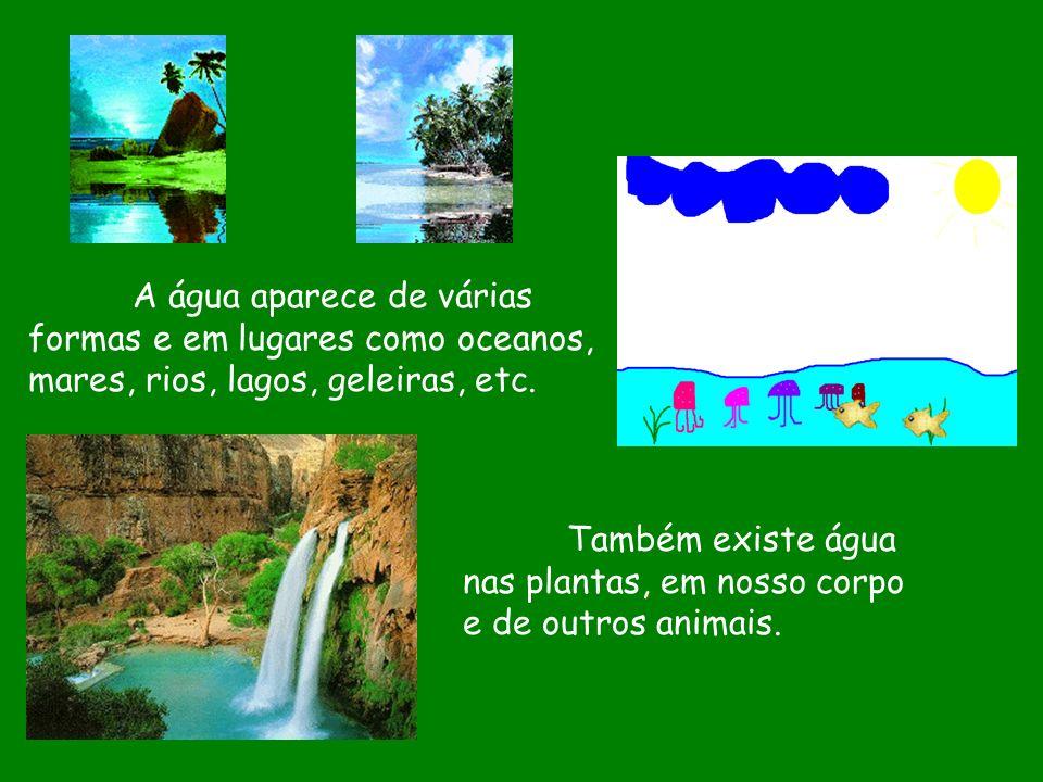 A água aparece de várias formas e em lugares como oceanos, mares, rios, lagos, geleiras, etc. Também existe água nas plantas, em nosso corpo e de outr