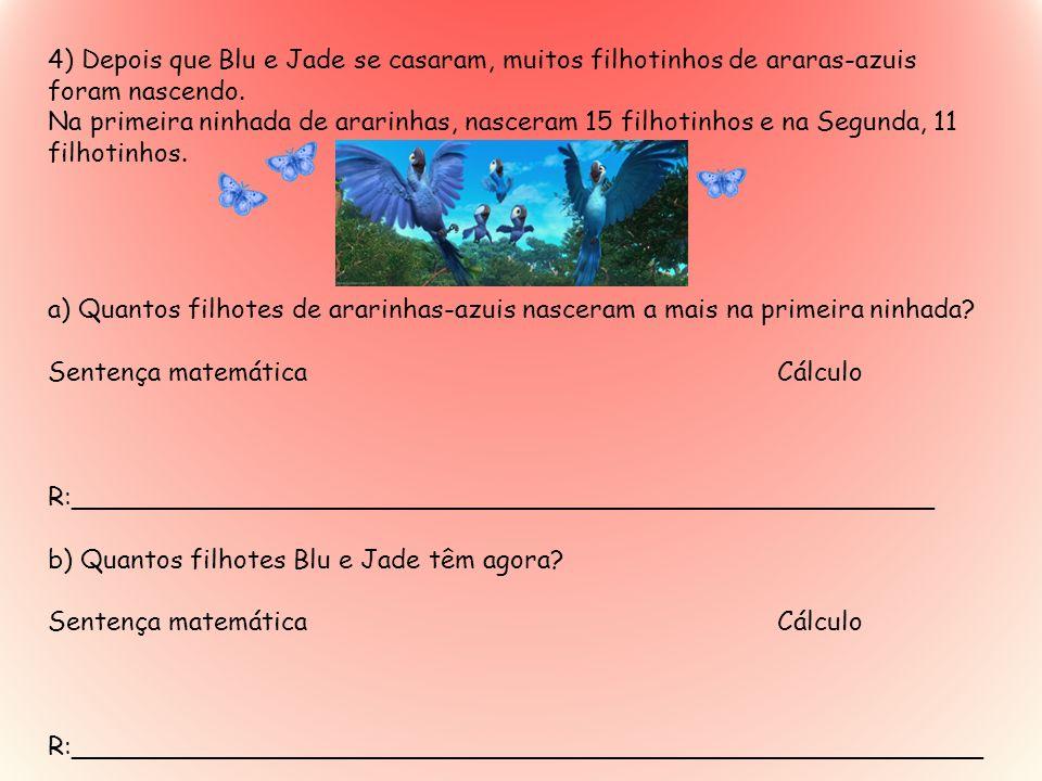 4) Depois que Blu e Jade se casaram, muitos filhotinhos de araras-azuis foram nascendo. Na primeira ninhada de ararinhas, nasceram 15 filhotinhos e na
