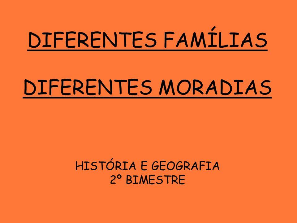 DIFERENTES FAMÍLIAS DIFERENTES MORADIAS HISTÓRIA E GEOGRAFIA 2º BIMESTRE