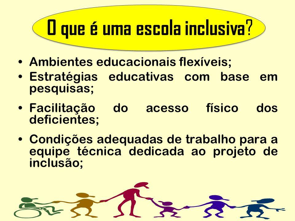 O que é uma escola inclusiva ? Ambientes educacionais flexíveis; Estratégias educativas com base em pesquisas; Facilitação do acesso físico dos defici
