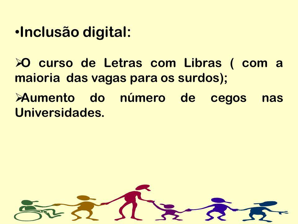 Inclusão digital: O curso de Letras com Libras ( com a maioria das vagas para os surdos); Aumento do número de cegos nas Universidades.