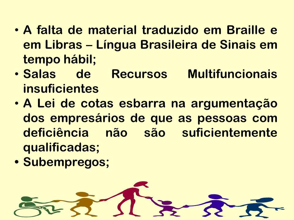 A falta de material traduzido em Braille e em Libras – Língua Brasileira de Sinais em tempo hábil; Salas de Recursos Multifuncionais insuficientes A L
