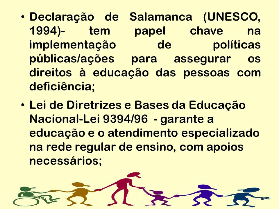 Declaração de Salamanca (UNESCO, 1994)- tem papel chave na implementação de políticas públicas/ações para assegurar os direitos à educação das pessoas