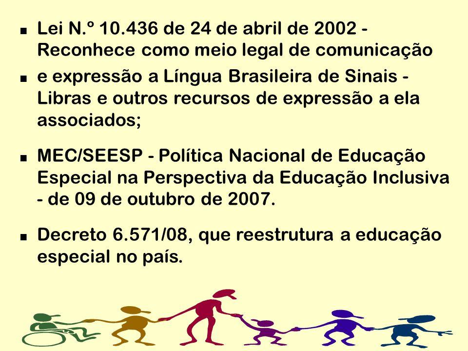 Lei N.º 10.436 de 24 de abril de 2002 - Reconhece como meio legal de comunicação e expressão a Língua Brasileira de Sinais - Libras e outros recursos