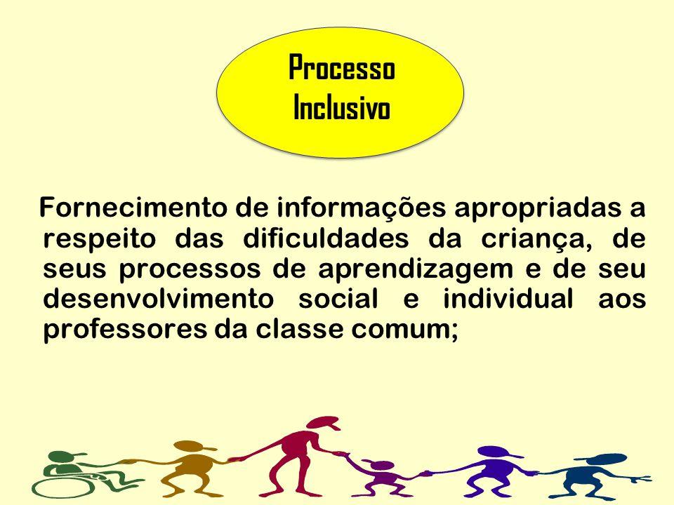 Fornecimento de informações apropriadas a respeito das dificuldades da criança, de seus processos de aprendizagem e de seu desenvolvimento social e in