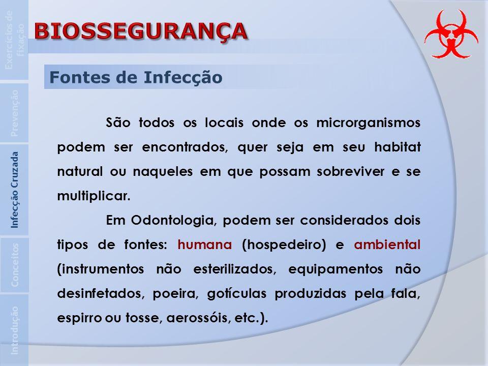 Fontes de Infecção São todos os locais onde os microrganismos podem ser encontrados, quer seja em seu habitat natural ou naqueles em que possam sobrev