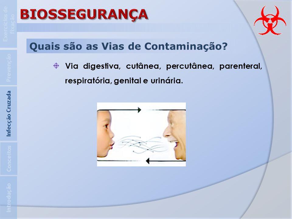 Quais são as Vias de Contaminação? Via digestiva, cutânea, percutânea, parenteral, respiratória, genital e urinária. Introdução Infecção Cruzada Preve