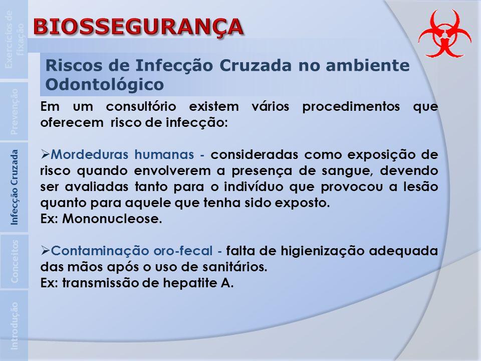 Riscos de Infecção Cruzada no ambiente Odontológico Em um consultório existem vários procedimentos que oferecem risco de infecção: Mordeduras humanas