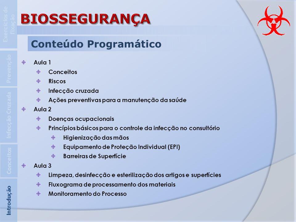 Conteúdo Programático Aula 1 Conceitos Riscos Infecção cruzada Ações preventivas para a manutenção da saúde Aula 2 Doenças ocupacionais Princípios bás
