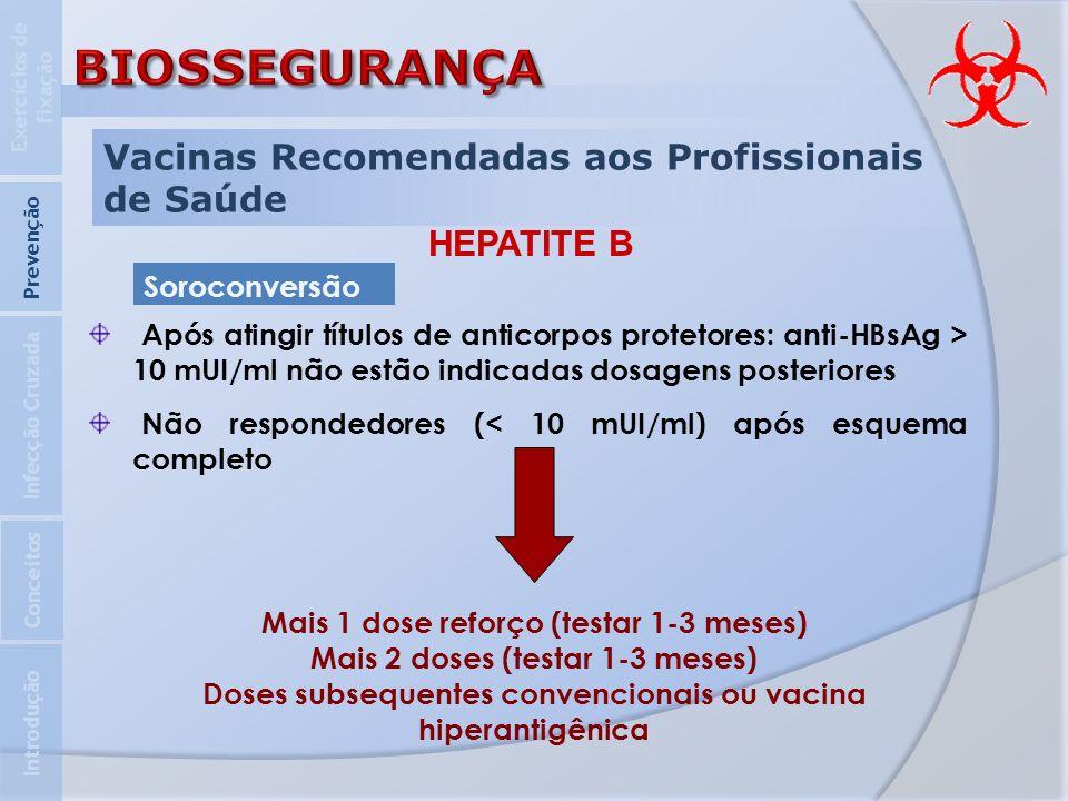 Vacinas Recomendadas aos Profissionais de Saúde HEPATITE B Após atingir títulos de anticorpos protetores: anti-HBsAg > 10 mUI/ml não estão indicadas d