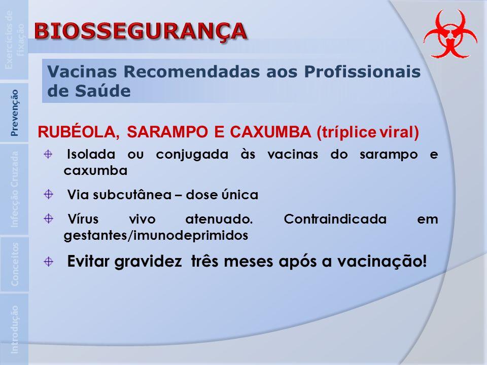 Vacinas Recomendadas aos Profissionais de Saúde Introdução Infecção Cruzada Prevenção Exercícios de fixação Conceitos RUBÉOLA, SARAMPO E CAXUMBA (tríp