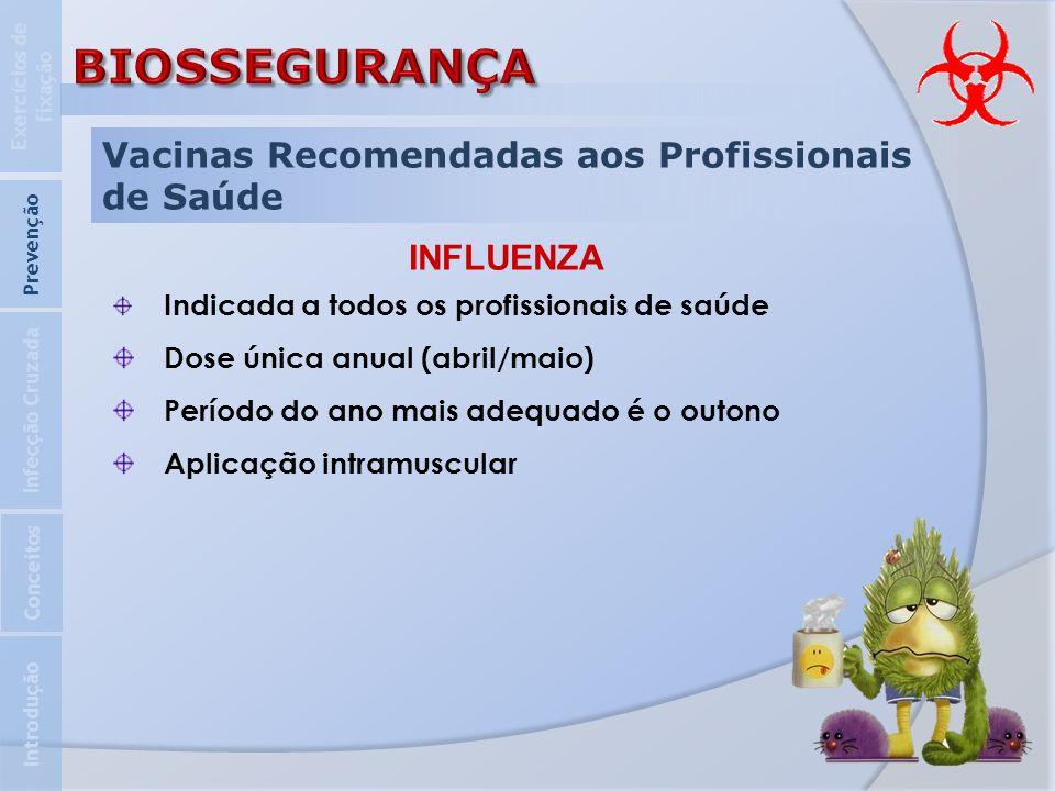 Vacinas Recomendadas aos Profissionais de Saúde Introdução Infecção Cruzada Prevenção Exercícios de fixação Conceitos INFLUENZA Indicada a todos os pr