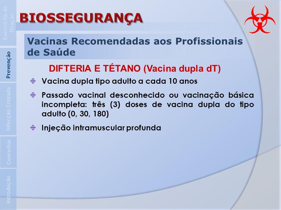 Vacinas Recomendadas aos Profissionais de Saúde Introdução Infecção Cruzada Prevenção Exercícios de fixação Conceitos DIFTERIA E TÉTANO (Vacina dupla
